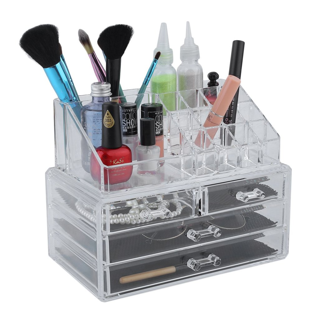 Multifunction Large Necklace Rings Jewelry Casket Cosmetic Storage Box Drawer Lipstick Holder Acrylic Organizer Case