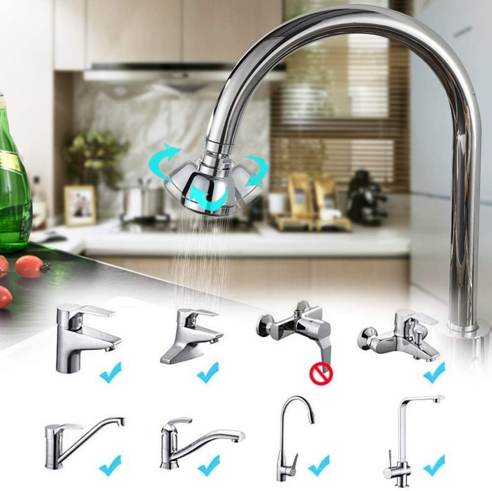 Swivel Kitchen Sink Faucet Aerator Solid Copper High-Pressure Faucet Spray Head  Leak-Proof Super Nozzle Filter Adapter 4