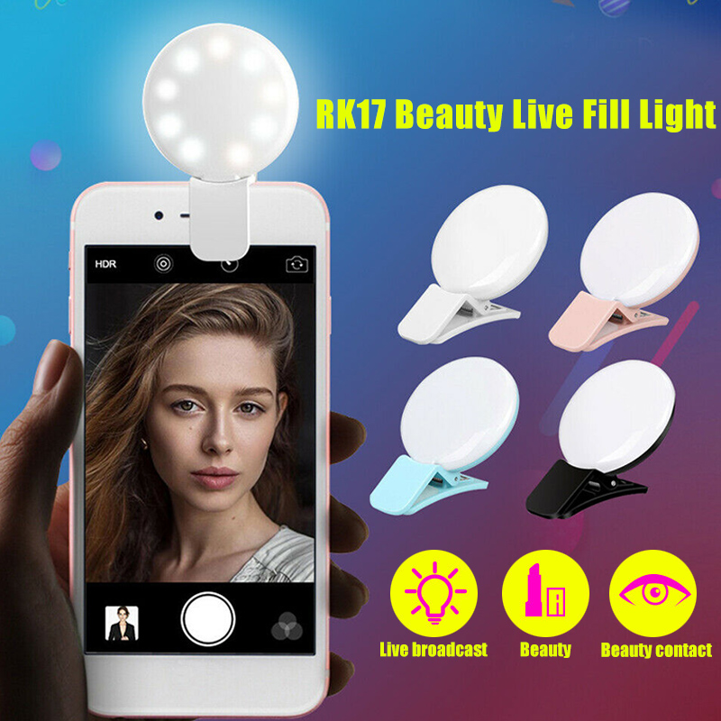 Selfie LED Ring Light Rechargeable Portable Clip Fill Light for Phone Tablet Video KQS8