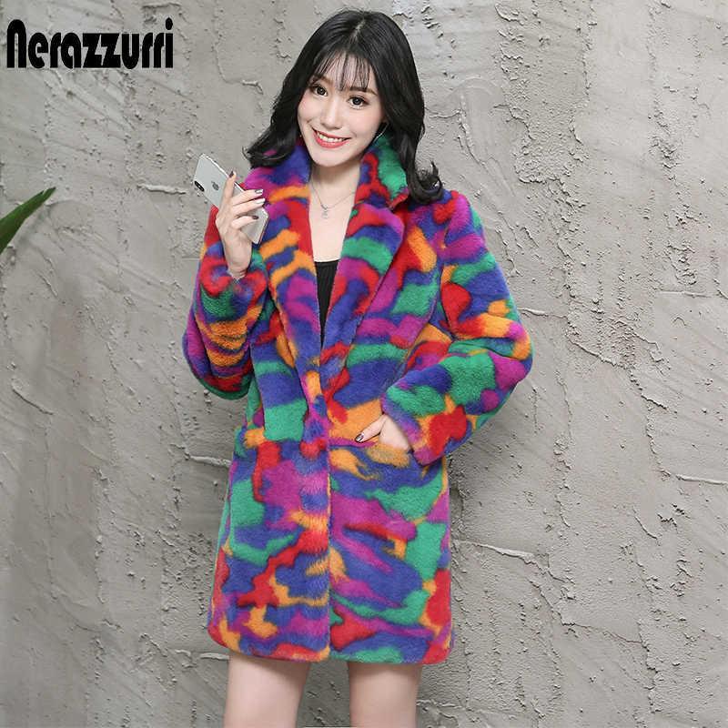 Nerazzurri multi kleur fluffy faux fur jas notch revers lange mouwen kleurrijke warme zachte plus size winter vrouwen faux fur jas