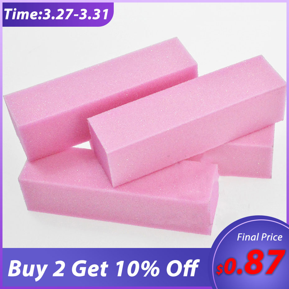 4pcs/set Pink Nail Art Buffer Sanding Block Buffs Professional Nail Files Polishing Tools Pedicure Manicure Accessories BETR05