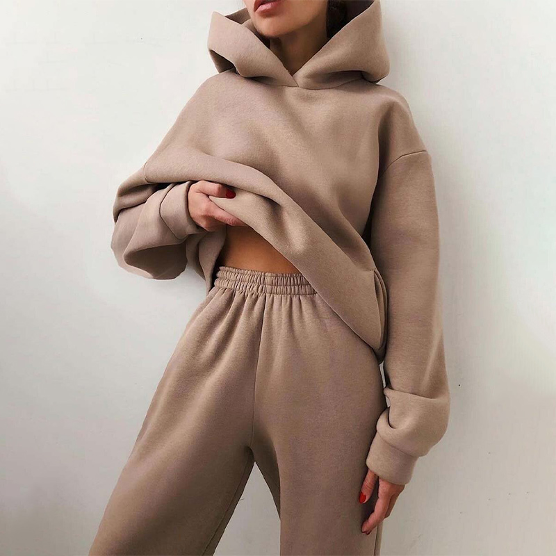 Women Elegant Solid Sets Female Warm Hoodie Sweatshirts And Long Pant Fashion 2 Pieces Sets Oversized Sweatshirt Suits
