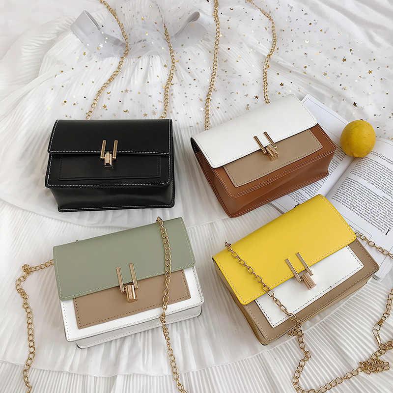 Brytyjska moda prosta mała torba kwadratowa damska designerska torebka 2020 wysokiej jakości PU skórzany łańcuszek torby na telefon komórkowy na ramię