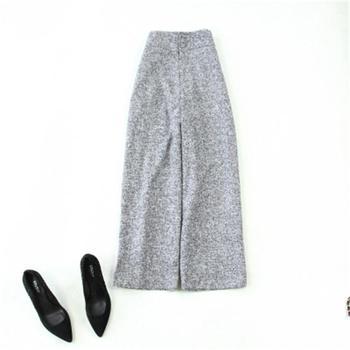 Fashion casual pants women's Spring winter New high-quality Large size high waist Woolen gray Button wide-leg pants women pants