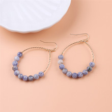 Multicolor Round Natural Stone Earrings Gemstone Bead Hoop Earring Aretes De Mujer Modernos Indian Jewelry