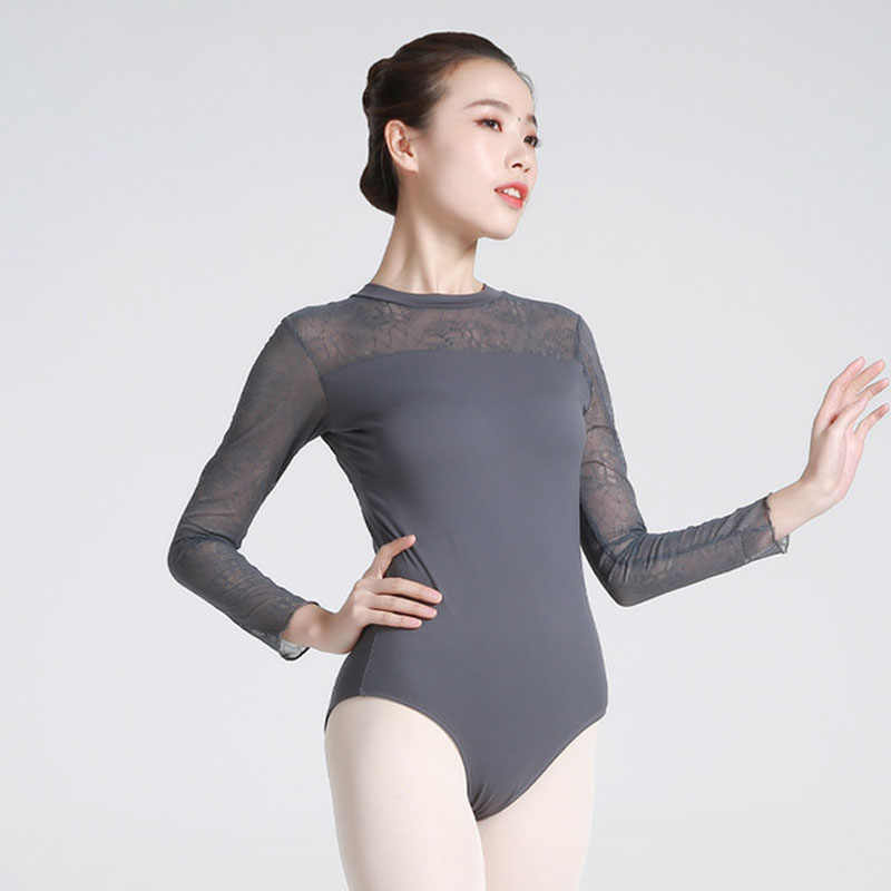 Ballet Leotards Adult Lace long sleeves Practice Dancing Costume Women Lace Gymnastics Leotard Ballet Coverall girls dance wear