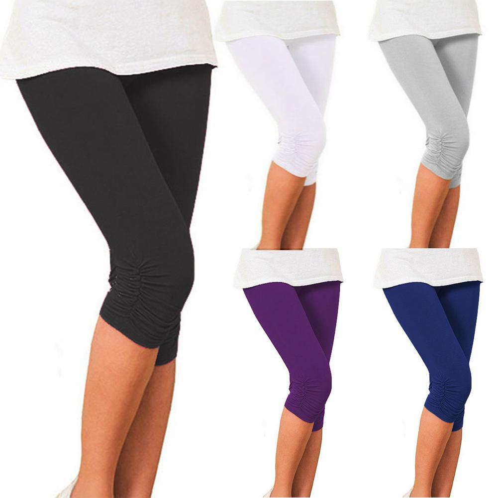 Summer Short Leggings   Pants   Women Casual Solid Color Pleated Elastic   Capri     Pants   Trousers Lady For Women's   Pants