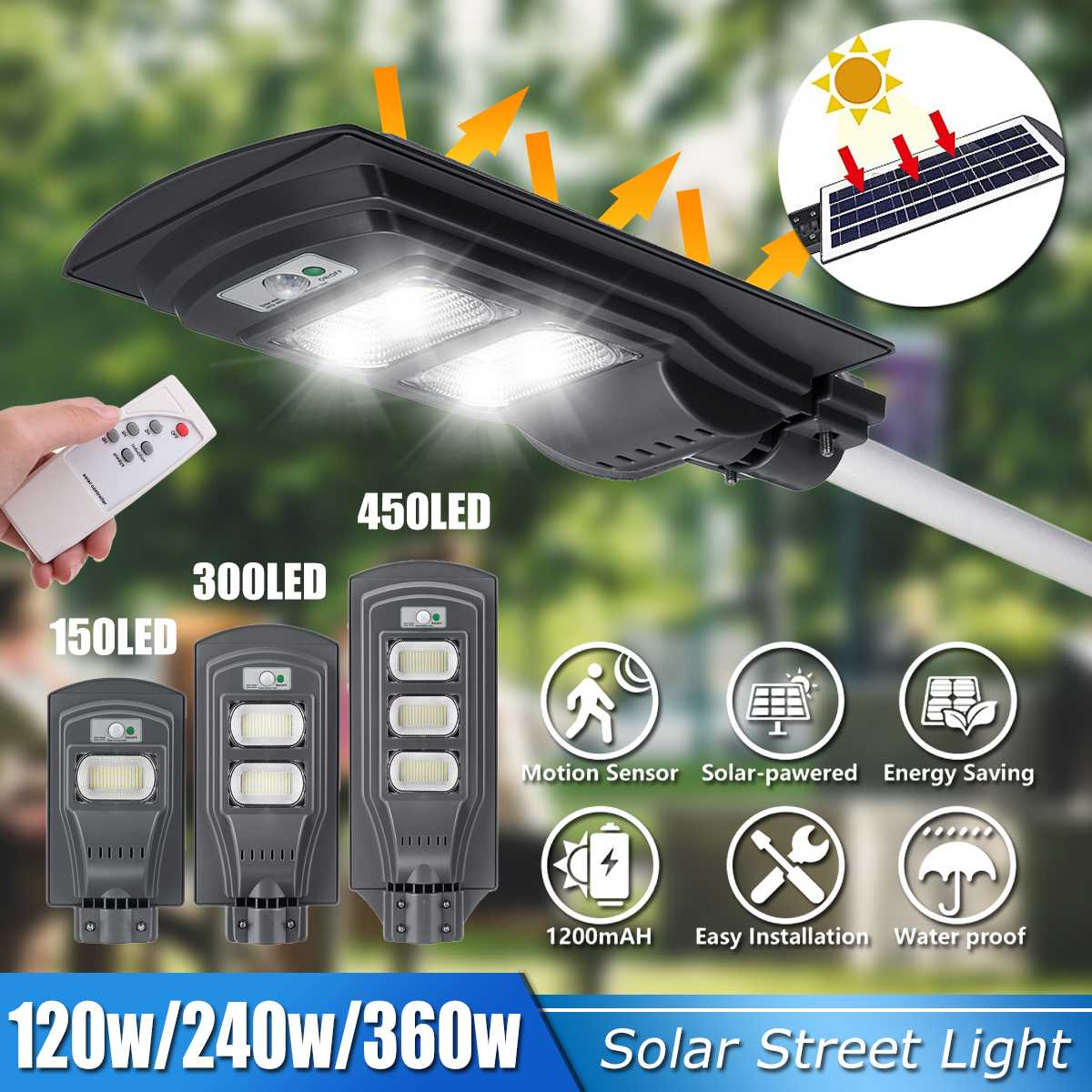 Smuxi 30000LM 120W/240W/360W Solar Street Light 150/300/500 Grey Outdoor High-brightness Lamp Motion Sensor Remote Control IP65