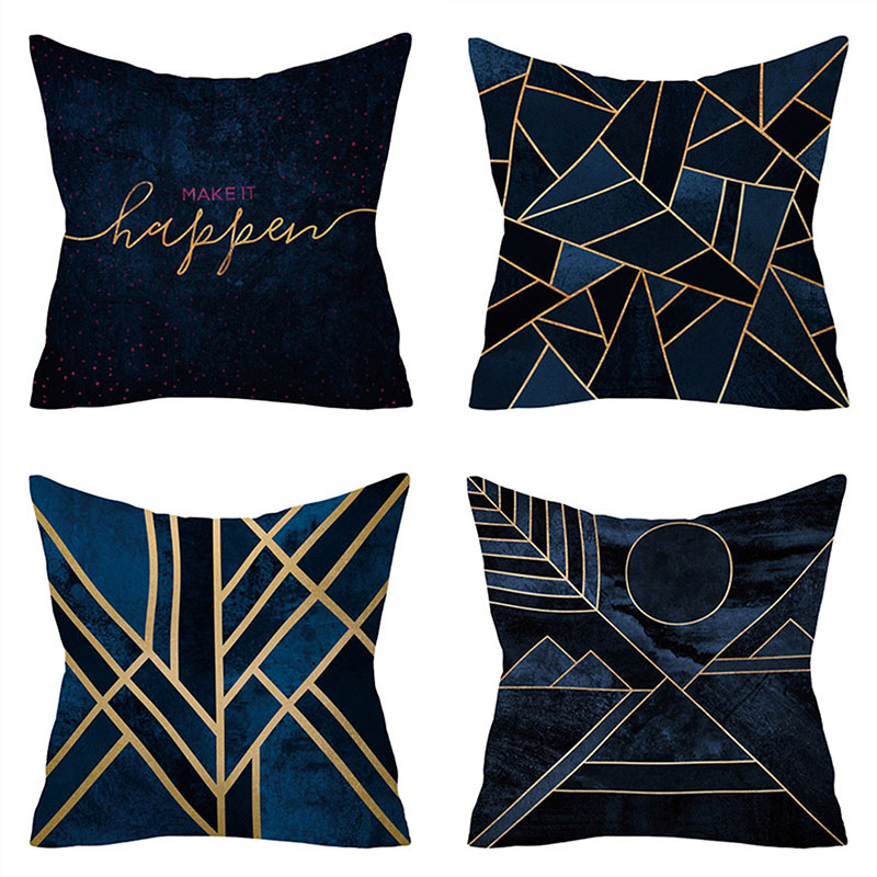 Blue Golden Leaves Cushion Brozing Gold Foil Cushion Decorative Pillows Home Decor Throw Pillow Almofadas Decorativas Para Sofa