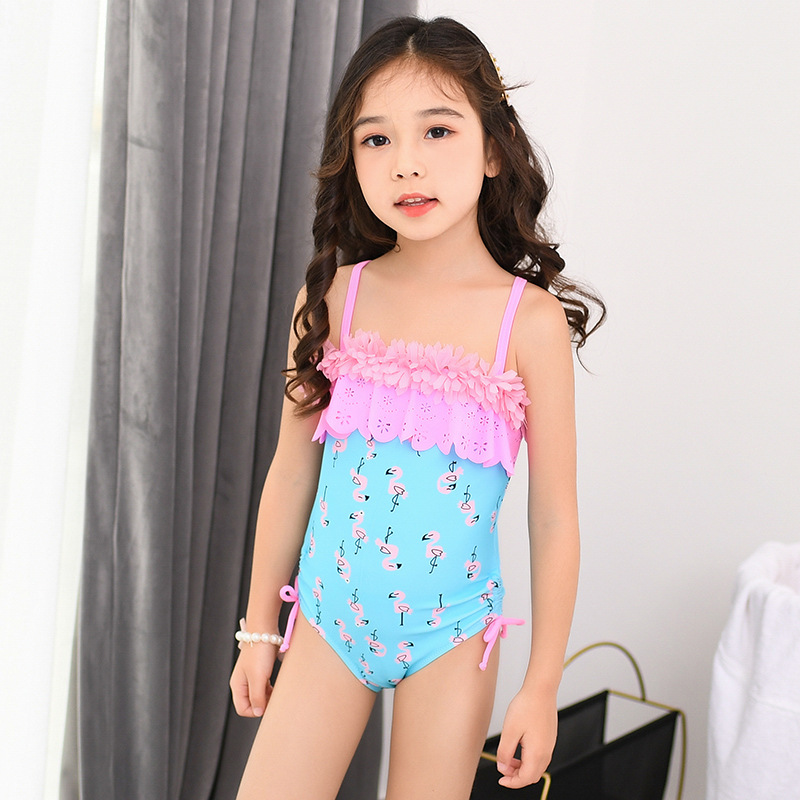 2019 New Style Children Siamese Swimsuit GIRL'S Medium-small Big Kid Shoulder Belt Cute Students Baby Learn Swimming Suit