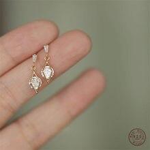 925 en argent Sterling 14K or coréen diamant creux boucles d'oreilles femmes cristal glands lumière luxe Sexy fête bijoux cadeau