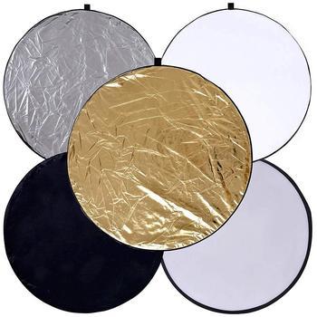 5 w 1 unikalne światła odblaskowe zapinana na zamek torba do przechowywania łatwe do przenoszenia fotografia fotografia składany Disc akcesoria fotograficzne tanie i dobre opinie CN (pochodzenie) Light Reflectors 23x23x2 5cm ROUND 249 g