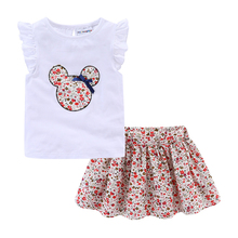 Mudkingdom Cute Girls Clothes Sets Floral 2Pcs Cartoon Kids Ruffle Sleeve Tank Top and