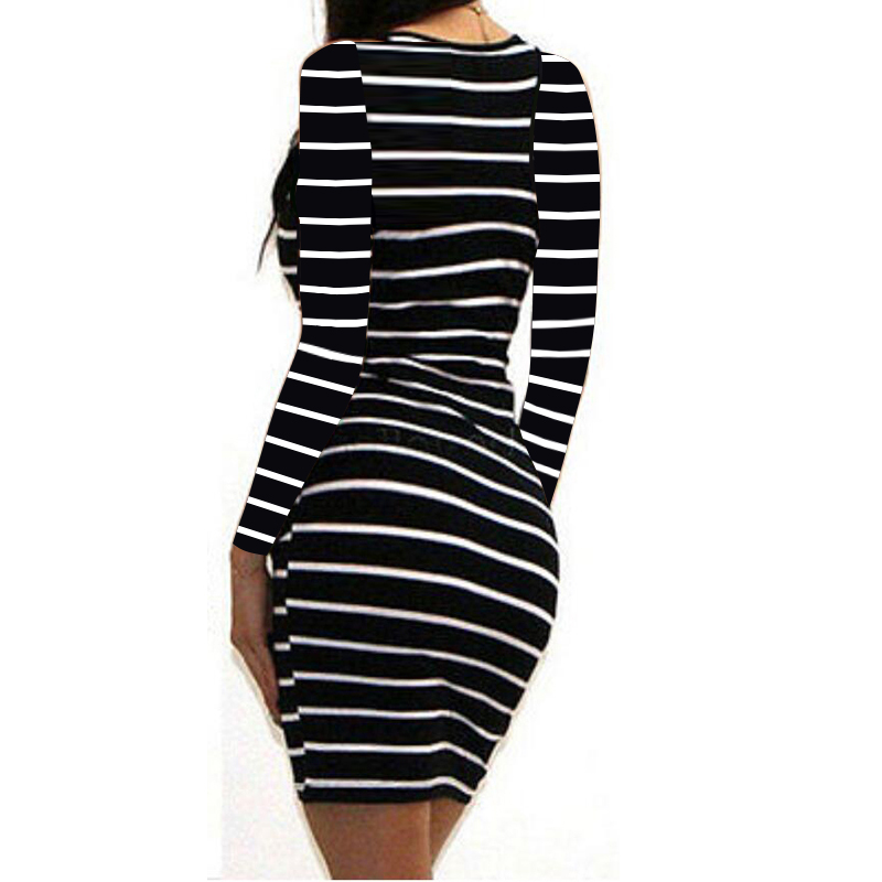 H8b7e45180419491aa3c0d205b37249c8U Long Short sleeve autumn winter Casual Women Striped Bandage Bodycon Dress Sexy Slim Sleeveless Evening Party Mini Dress