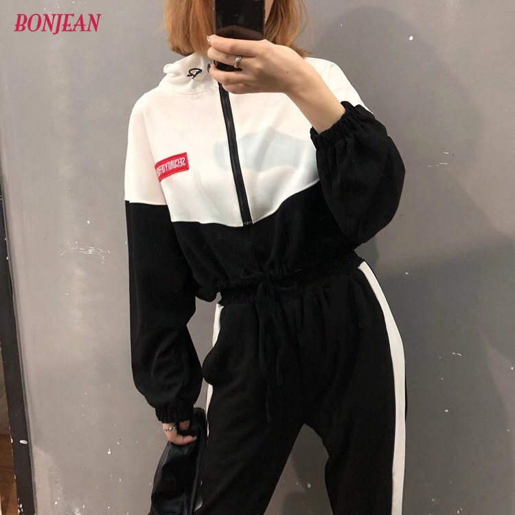2019 Women Sportswear 2Pcs sets Tracksuit Gym Clothing autumn Korean harajuku two-piece set Fitness Zipper Sport Clothing