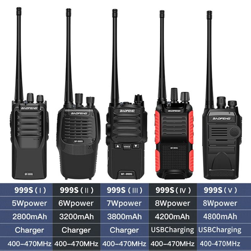 BF-999S Walkie Talkie Bao Feng 8W /5W 4200mAh Transceiver Portable Two Way Radio Upgrade BF-888s