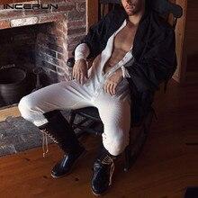 Men Pajamas Jumpsuit Nightwear Sleepwear Rompers Button-Homewear INCERUN Solid Comfortable