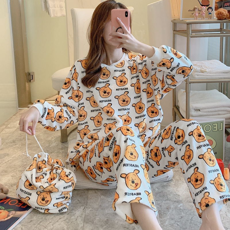 Winnie The Pooh Mickey Cloth Bag Pajamas Female Winter Online Celebrity Hot Selling Cartoon Storage Bag Three-piece Set Home Wea