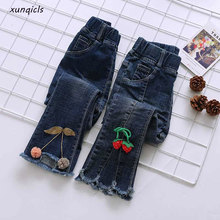 1-9Year New Kids Girls Jeans Pants Baby Denim Trousers Children Elastic Waist Autumn Spring girl clothes