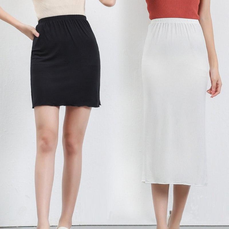 Summer New Modal Women's Skirt Anti-light Base Lining Skirt Short / Long Bag Hip Solid Color Skirt