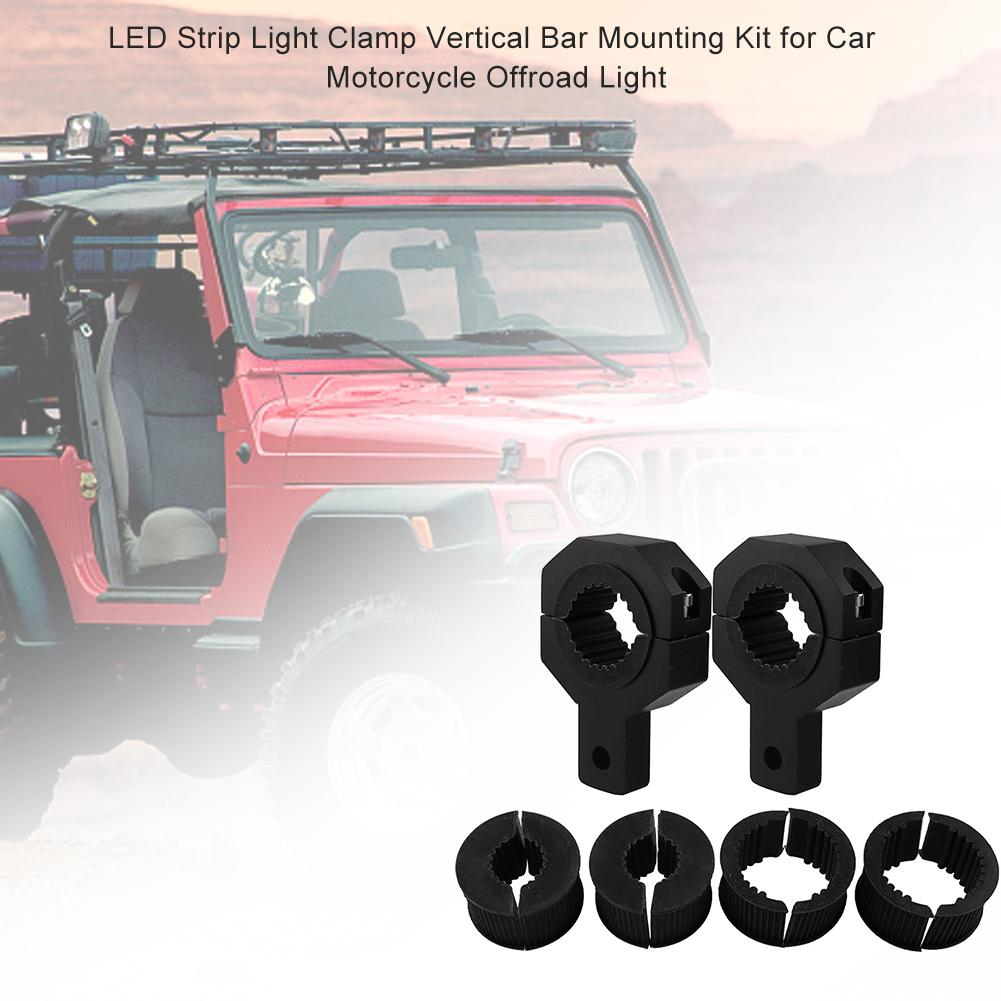 LED Strip Light Clamp Vertical Bar Mounting Kit For Car Motorcycle Offroad Light
