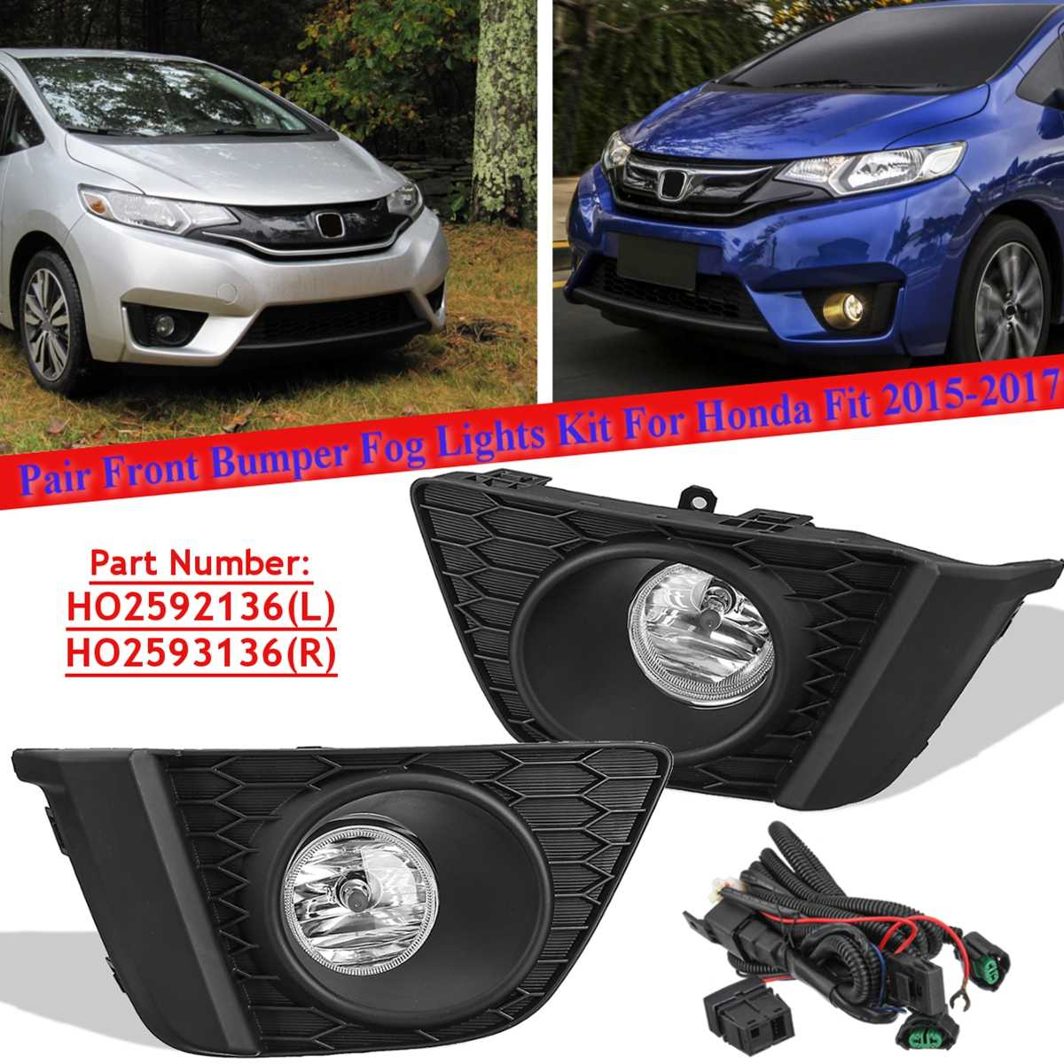2x 12V Halogen H11 Fog Light Driving Lamp For <font><b>Honda</b></font> <font><b>Fit</b></font> Jazz <font><b>2015</b></font> <font><b>2016</b></font> 2017 With Bulb US Model Switch Foglight Lamp Front Bumper image
