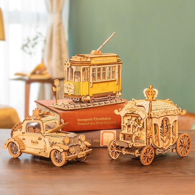 Robotime 3 Kinds DIY 3D Transportation Wooden Puzzle Game Assembly Vintage Car Tramcar Carriage Toy Gift for Children Adult 2