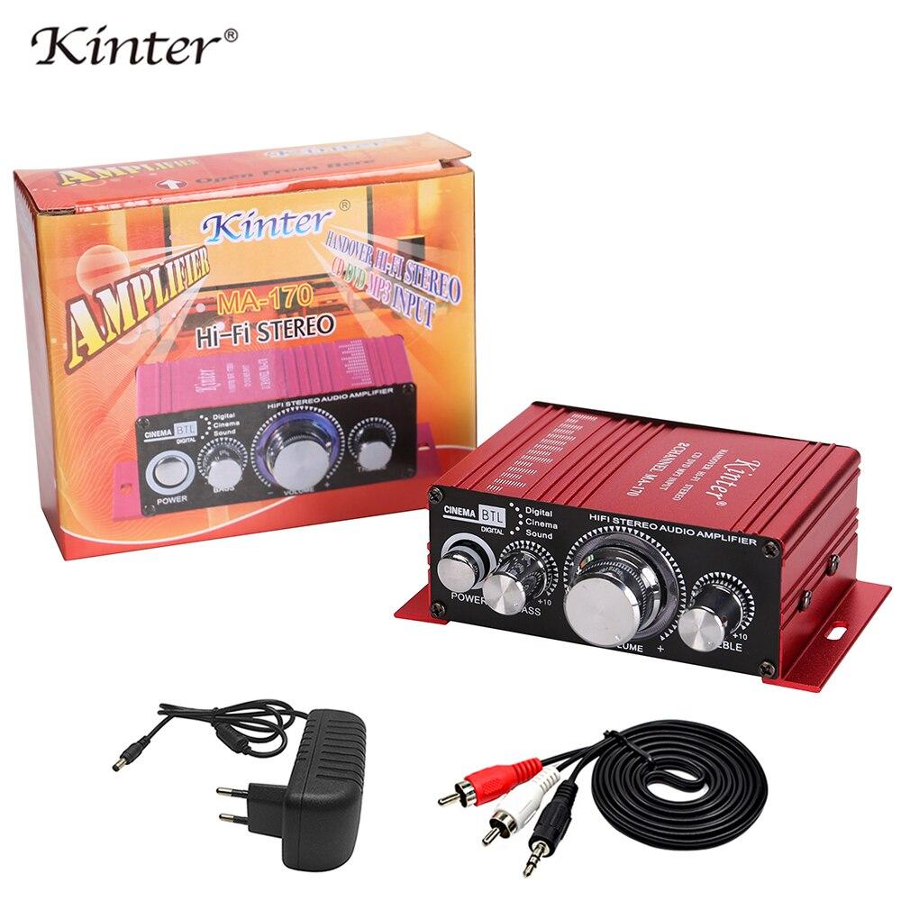 Kinter мини аудио усилитель для динамика 2 канала MA-170 домашние мотоциклетные Автомобильные усилители стерео звук DC12V кабель питания
