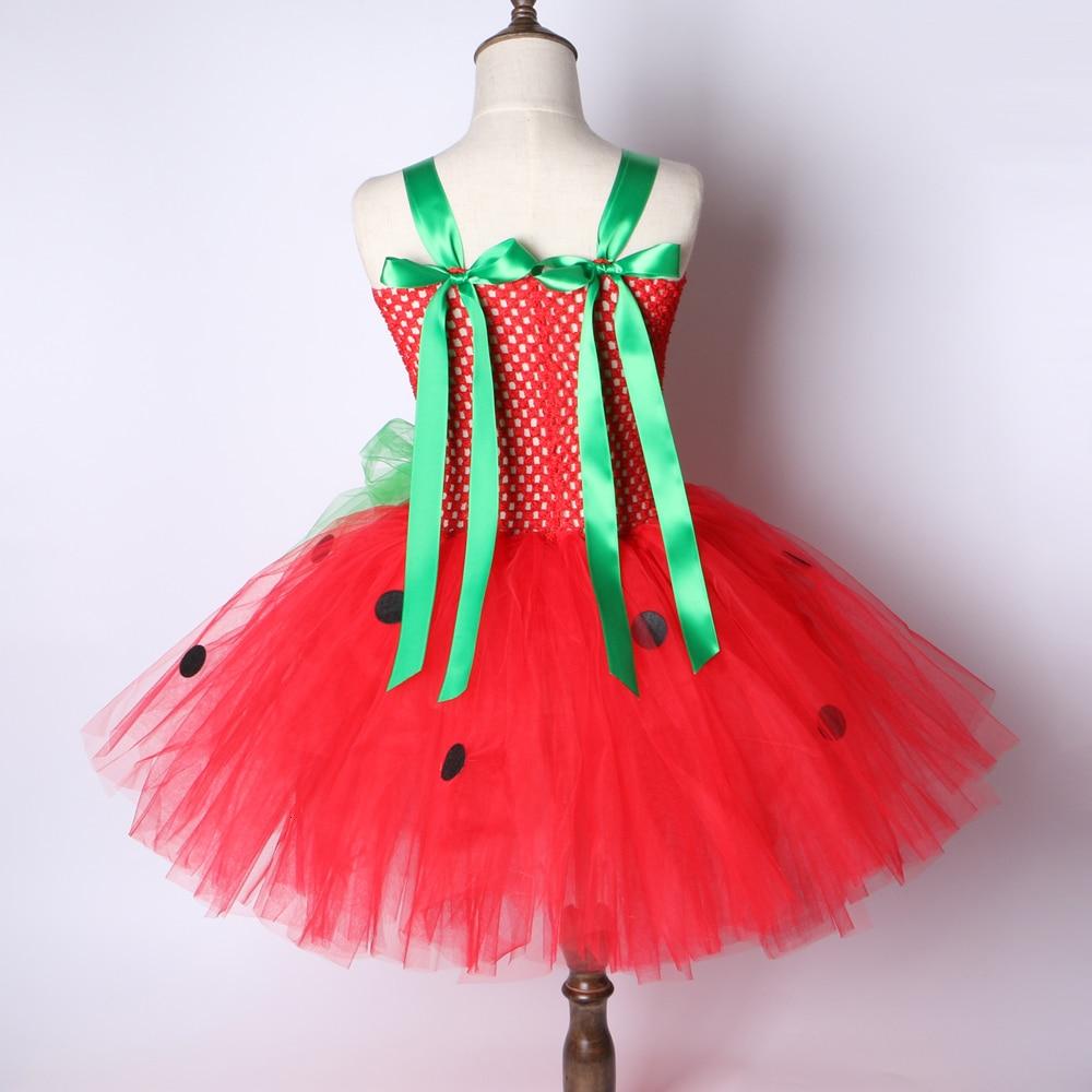 Girls Patry Dance Princess Costume Red Tutu Dress Girls 0-12Y Strawberry Design Baby Tutu Dress Birthday Clothing Children  3