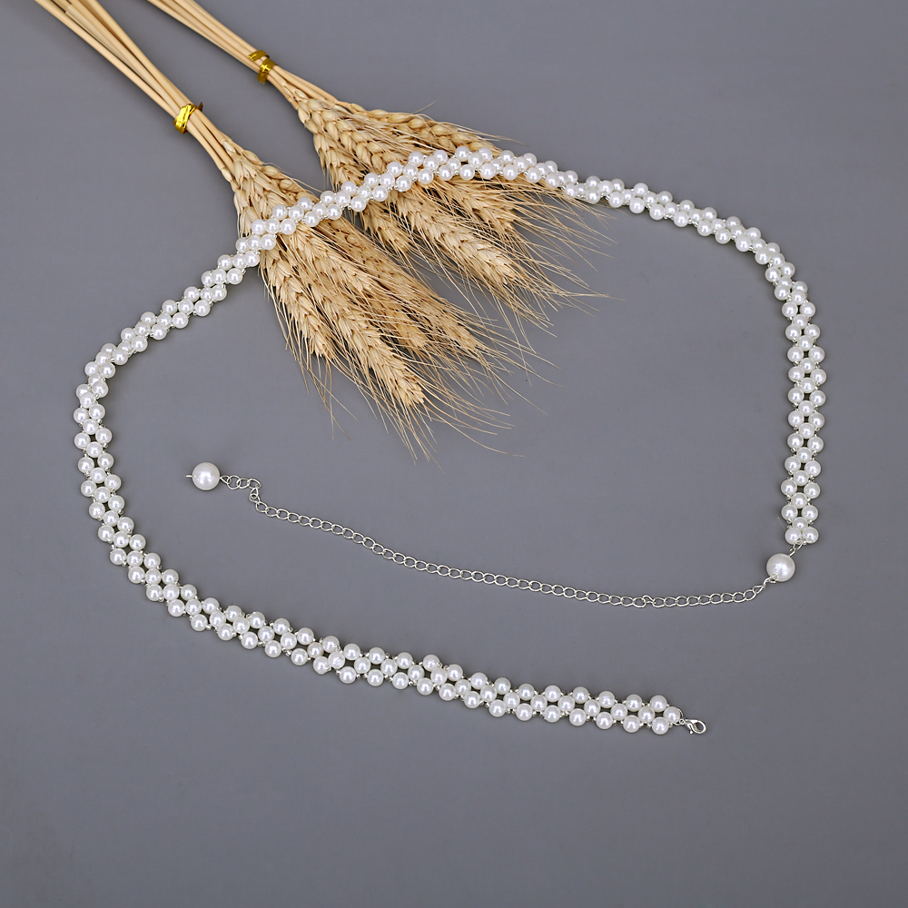 TRiXY S398 Elegant Pearls Wedding Belt Pearls Bridal Belt white Pearls satin Bridal Sash wedding dress accessories for Brides