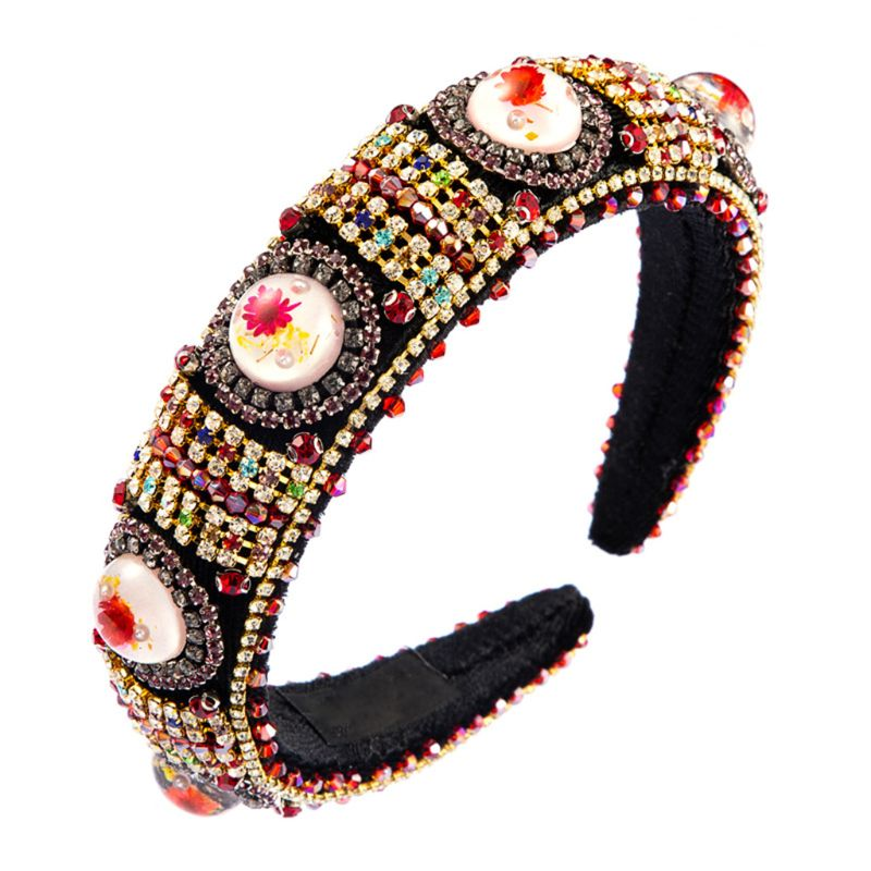Headband do Bandana Barroco Esponja Acolchoado Senhoras Floral Pérola Resina Cabochão Jóias Mutlicolored Strass Cocar