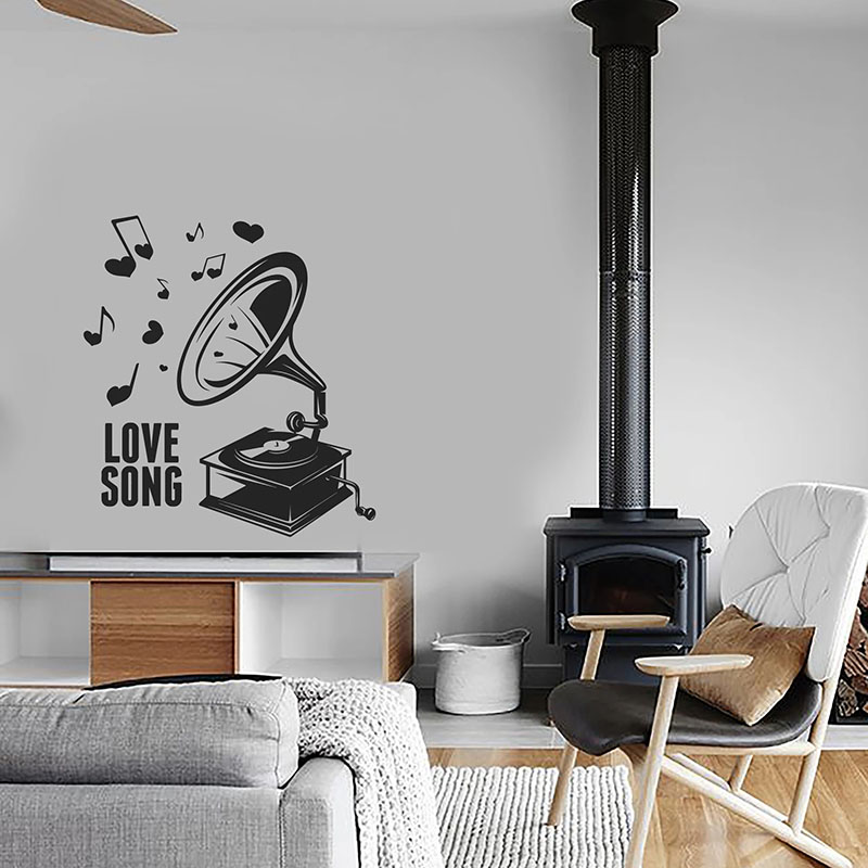 Love Song Wall Decal Words Vintage Phonograph Musical Notes Retro Music Studio Interior Decor Door Window Vinyl Stickers Q718 image