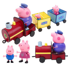 Peppa Pig Doll Set Peggy Bus School Bus Light Car Cartoon Cute Model Family Toy Cute Birthday Gift Toys for Boys and Girls peppa pig the wheels on the bus board book