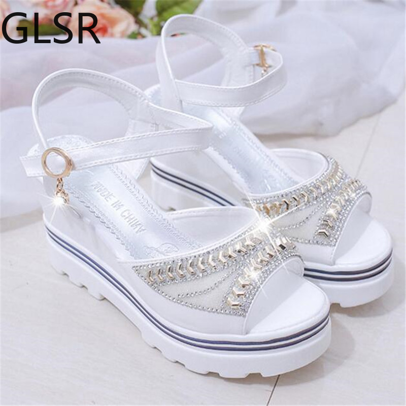New wedge with female sandals fish mouth buckle with flat bottom platform waterproof platform thick bottom cake women's shoes