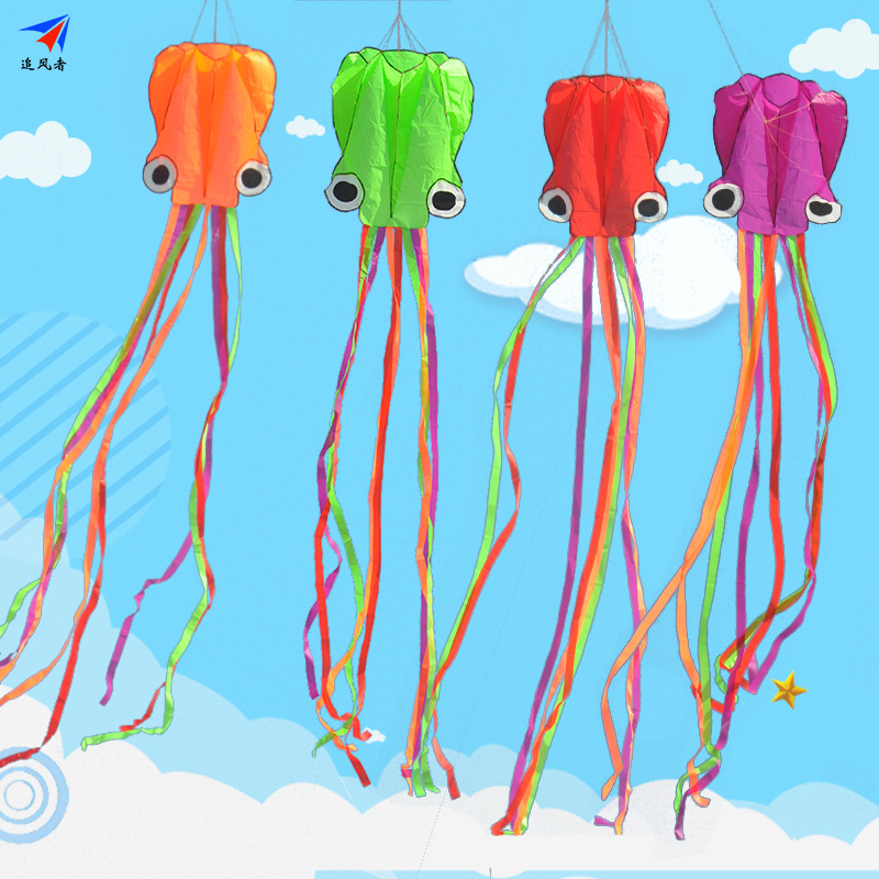3D 4M Octopus Kite Single Line Stunt /Software Power Sport Flying Soft Kite Outdoor Easy To Fly Kids Fun Toys Gift 00M Kite Line image
