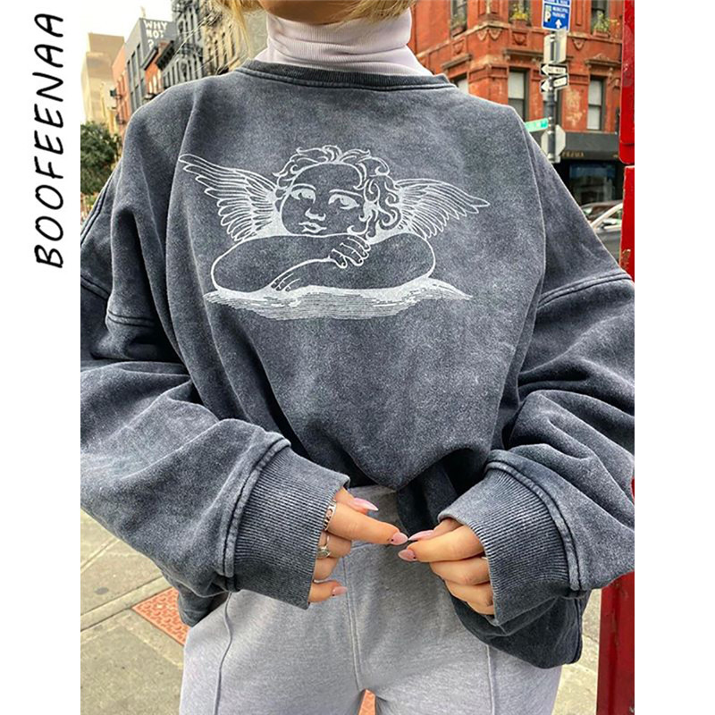 BOOFEENAA Angel Print Cute Graphic Sweatshirt Women Thick Oversized Hoodie Pullover Girls Clothes Aesthetic Hoodies C54-AG02