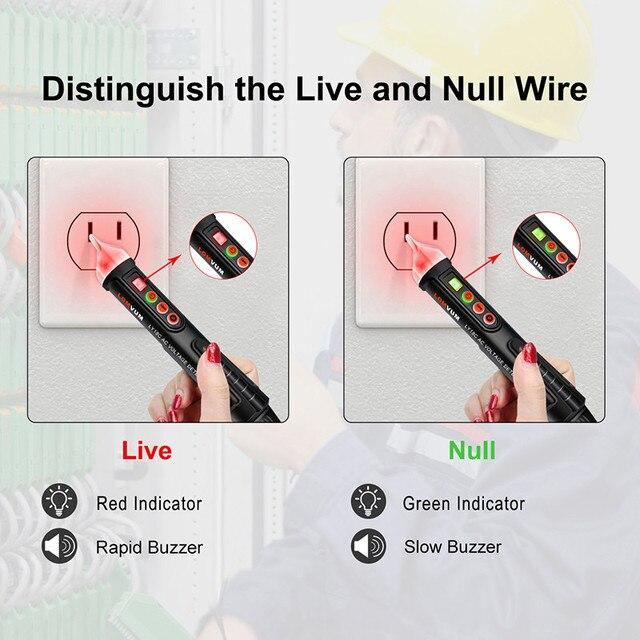 Stylo testeur de tension LOMVUM détecteur de tension ca/cc sans contact crayon dessai de tension stylo Compact électrique 12V/48V-Test de capteur 1000V