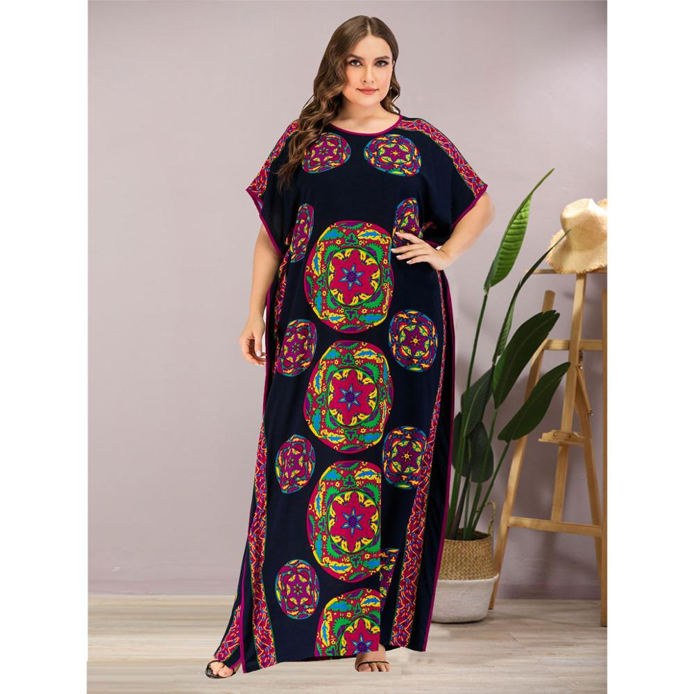 Women Casual Batwing Sleeve Print Maxi Dress Plus Size African Dashiki Loose Abaya Kaftan Ramadan Robe Moroccan Gown VKDR2121