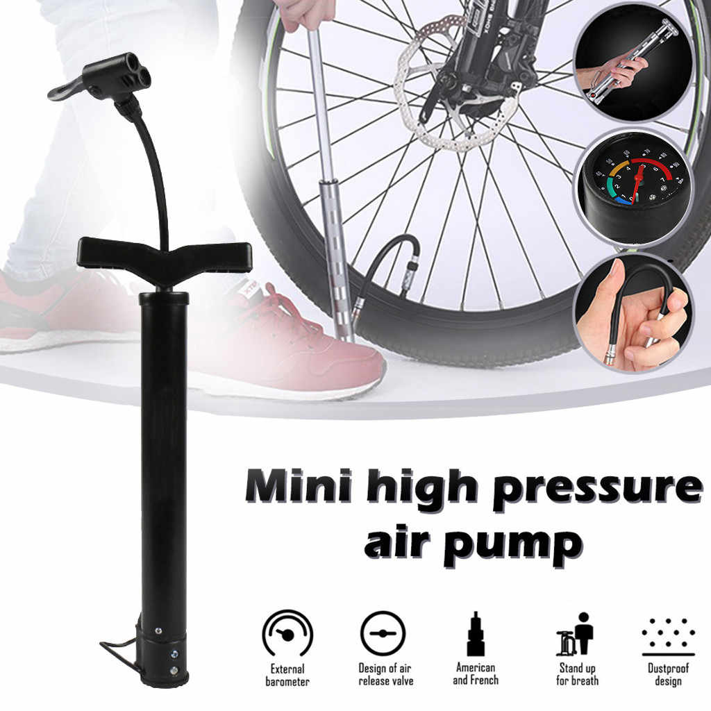 Mini Bicycle Pump with BAR Pressure Gauge Portable Bike Tyre Inflation Cycle US