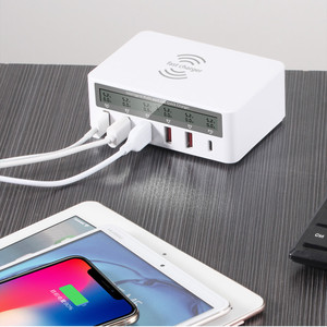 Image 5 - 100W Quick Charge 3.0 5 USB Ports Tpye C PD Fast Charger Qi Wireless LCD Display Multi Charger For Phone USB Charging Station