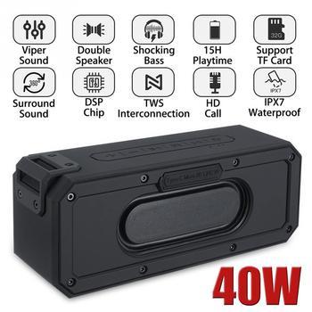 Portable TWS Bluetooth Speaker 40W Card Insert Shocking Bass Mini Waterproof Surround Sound Call Function Interconnection