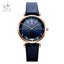Shengke New Brand Women Watches Lady Simple Dial Leather Belt Watch Diamond Quartz Clock Relogio Feminino Reloj Mujer
