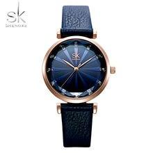 Shengke новые Брендовые женские часы простые с кожаным ремешком