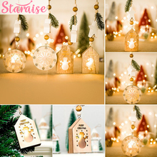 Creative Ornament Christmas Decoration For Home Wooden House Lamp Pendant LED Light DIY Craft Tree New Year