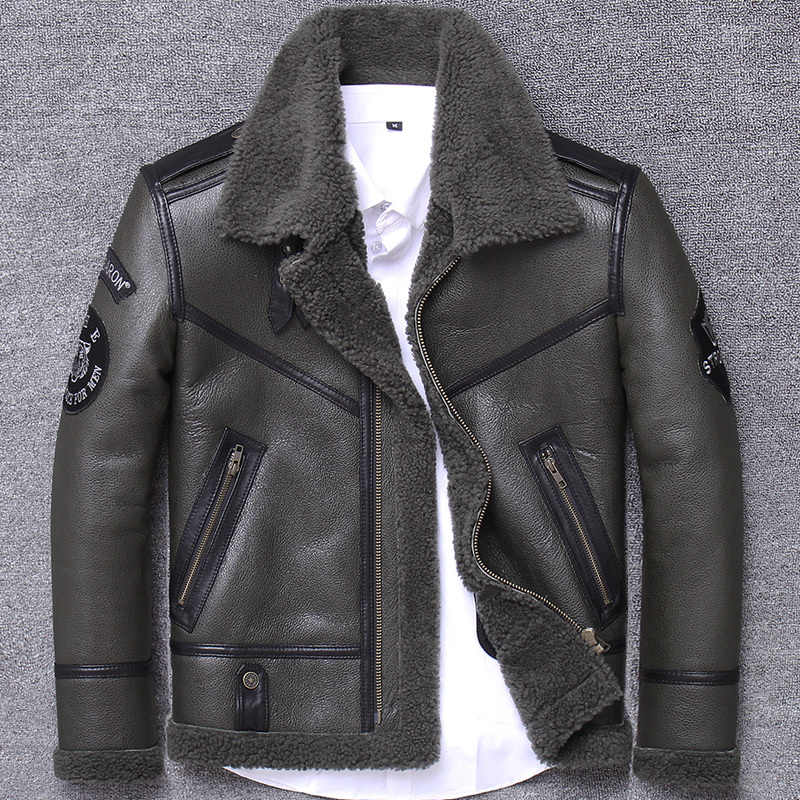 리얼 모피 코트 남성 겨울 코트 의류 2020 streetwear 모토 바이커 양 shearling jacket man 리얼 가죽 코트 hiver 801l
