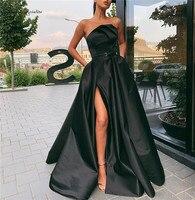 Black Evening Dresses Long High Split Pockets Strapless Zipper A-Line Simple Prom Party Formal Gowns Vestido De Festa Cheap