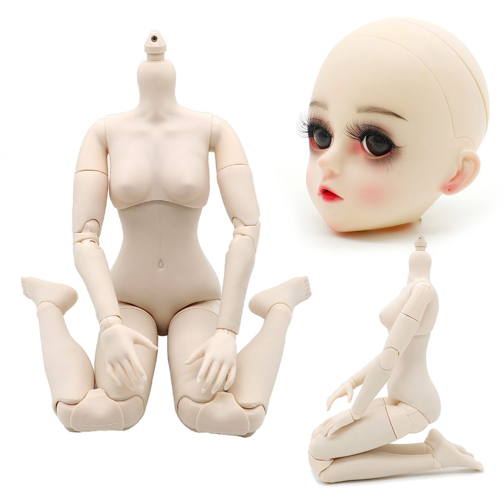1/3 BJD Nude Doll Body 60cm 26 Joints BJD Dolls High Quality White Skin Blad Head With / Without Makeup For Children Girl Toys