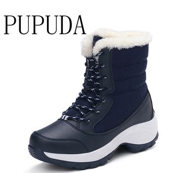 PUPUDA buty zimowe damskie odkryte klasyczne buty śnieżne buty zimowe damskie buty do kolan platformy modne buty na wysokim obcasie tanie i dobre opinie Podkolanówki Lace-up GEOMETRIC Syntetyczny PU16172019082147 Dla dorosłych Pasuje prawda na wymiar weź swój normalny rozmiar