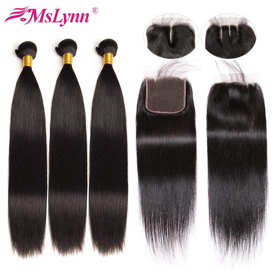 Straight Hair Bundles With Closure Brazilian Hair Weave Bundles With Closure Human Hair Bundles With Closure Mslynn Remy Hair-in 3/4 Bundles with Closure from Hair Extensions & Wigs