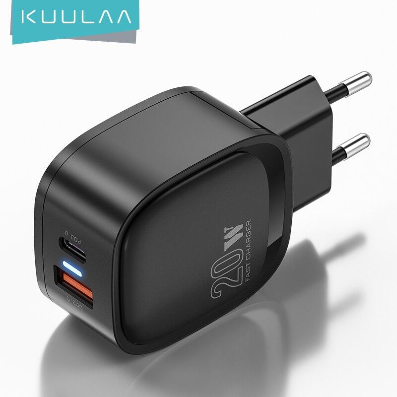 Устройство для быстрой зарядки KUULAA 4,0 3,0 QC PD, 20 Вт, USB Тип C, для iPhone 12 Pro Max 11 Pro Max XS 8 Xiaomi QC4.0 QC3.0 - Топ товаров на Али в мае
